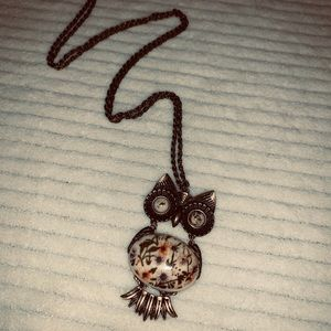 Jewelry - 2/$15 antique gold floral owl necklace